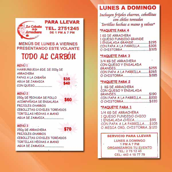 Cabana Restaurant Menu